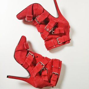Brand New Zigi Red Suede Ankle Boots Size 7